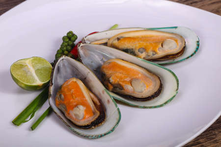 Half mussels with lime and green pepper Zdjęcie Seryjne