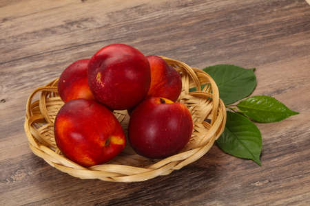 Sweet tasty ripe few nectarines fruit Фото со стока - 130074741