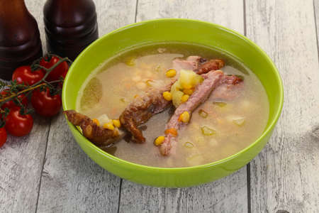 Peas soup with smoked ribs 스톡 콘텐츠