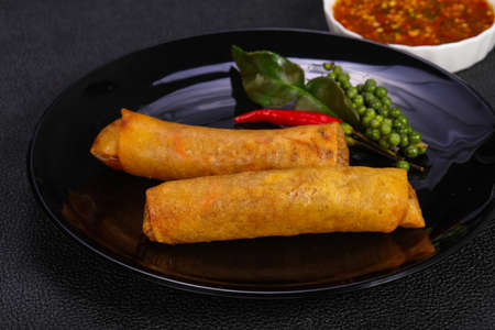Deep fried spring roll with prawn and cabbage Stok Fotoğraf