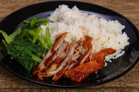 Rice with roasted duck breast and herbs 스톡 콘텐츠