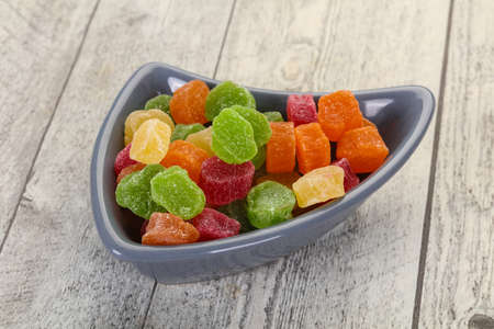 Sweet candied fruit heap in the bowl Stockfoto