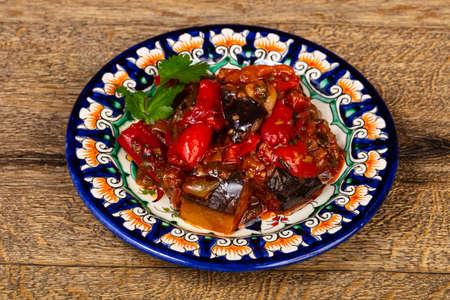 Georgian traditional Ajapsandal - grilled vegetables