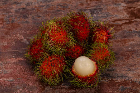 Tropical sweet exotic fruit Rambutan heap