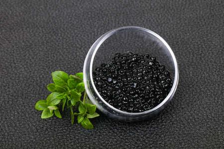 Luxury Black Caviar in the bowl