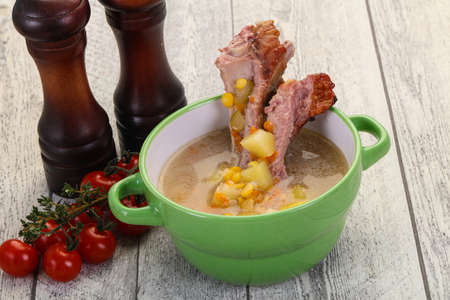 Peas soup with smoked ribs Stockfoto