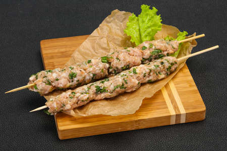 Raw pork skewer kebab ready for grill