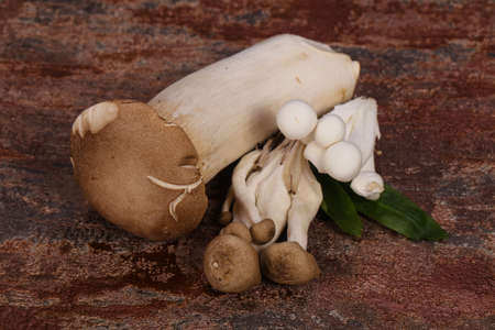 Raw Asian mushroom heap - ready for cooking 写真素材