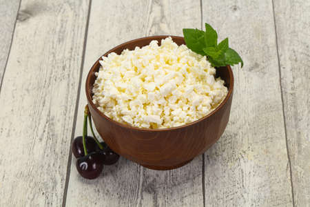 Fresh tasty curd in the bowl served mint and cherry Stock Photo