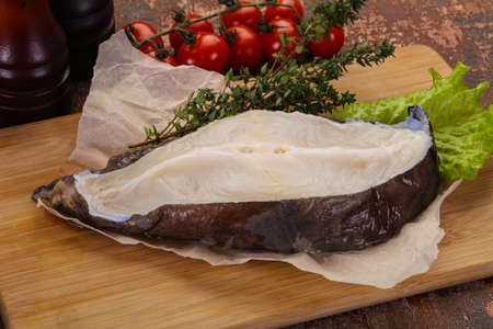 Raw wolffish steak ready for cooking Banco de Imagens - 133134007