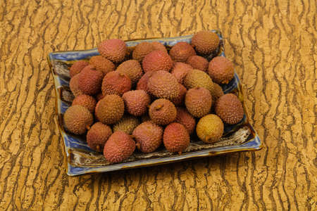 Tropical fruit lychee in the bowl