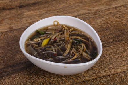 Thai style soup with meat, vegetables and mushrooms Stock fotó
