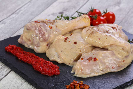 Marinated chicken parts ready for roast