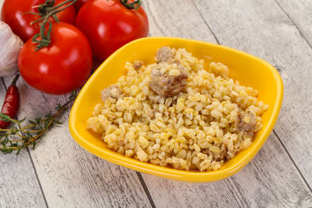 Bulgur with meat and spices Stock fotó