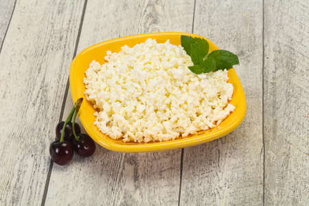 Fresh tasty curd in the bowl served mint and cherry