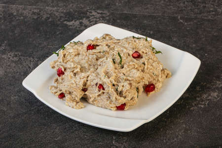 Vagan dietary cusine - eggplant mutabal with granet seeds