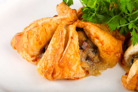 Pastry with meat served parsley