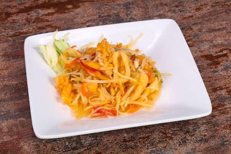 Thai traditional salad with papaya and prawn Zdjęcie Seryjne