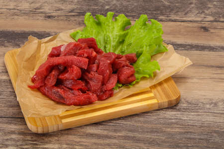 Raw beef meat sliced ready for cooking