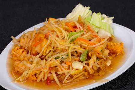 Thai traditional salad with papaya and prawn