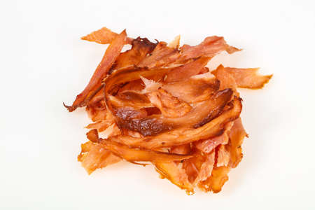 Smoked pork meat over white background isolated