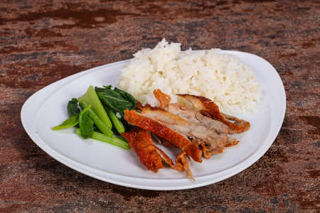 Rice with roasted duck and herbs
