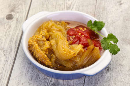 Caucasian cuisine - baked vegetables eggplant and tomato