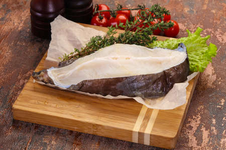 Raw wolffish steak ready for cooking Stok Fotoğraf