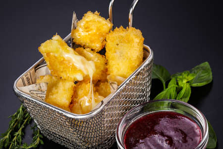 Fry camembert cheese with berry sauce