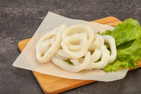 Raw squid rings ready for cooking