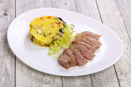 Roasted Duck breast with couscous and vegetables