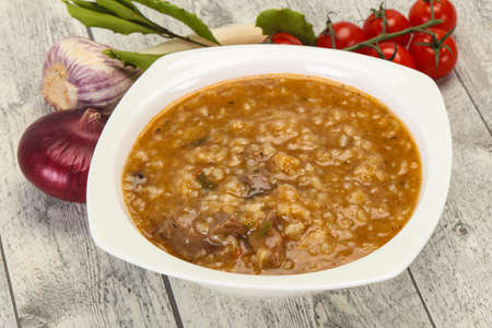 Caucasian Kharcho soup with beef meat and rice Фото со стока