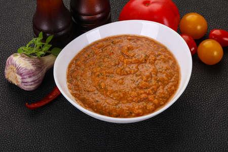 Famous Spanish gazpacho tomato cold soup Фото со стока