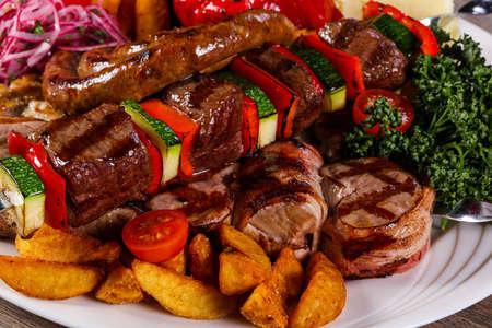 Grilled Pork and vegetables barbeque