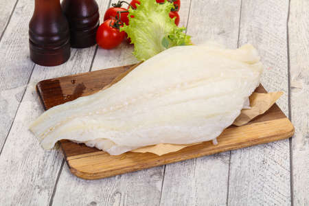 Raw halibut fillet ready for cooking Archivio Fotografico