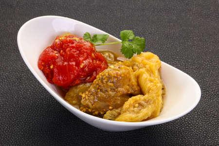 Caucasian cuisine - baked vegetables eggplant and tomato Foto de archivo