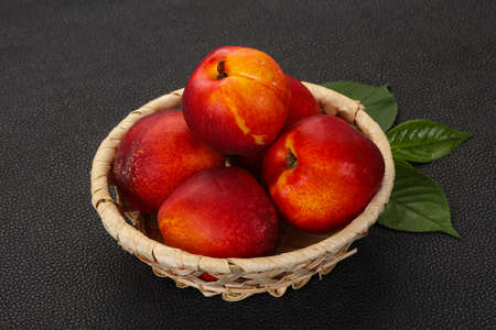 Sweet tasty ripe few nectarines fruit