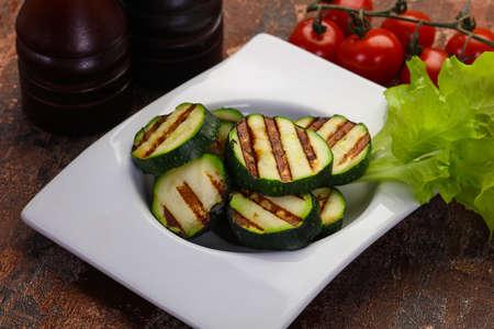 Vegan cuisine - grilled young zucchini