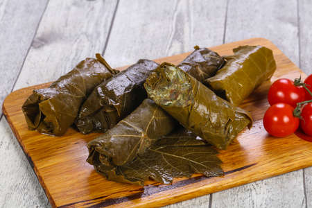 Stuffed dolma with meat and grape leaves