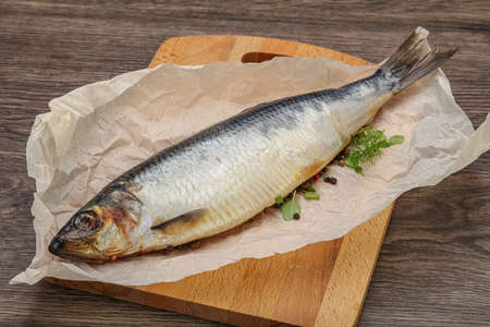 Salted Herring fish with pepper and spices Stockfoto