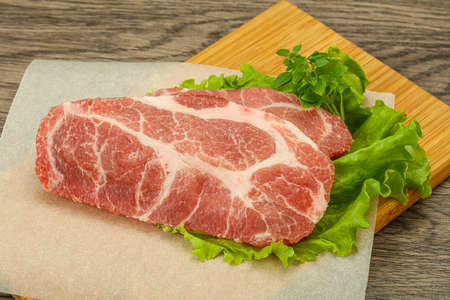 Raw pork meat neck steack for grill