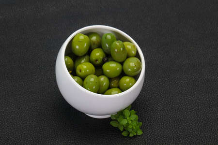 Marinated Green Campo Real olives in the bowl