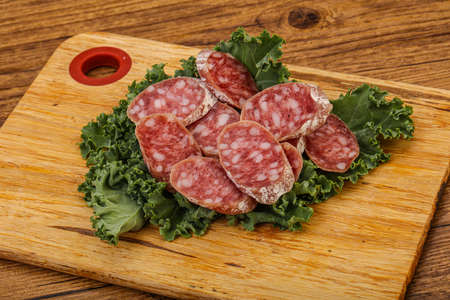Iberian famous pork Fuet sausage slices