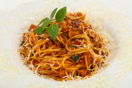 Italian traditional Pasta Bolognese spaghetti with meat