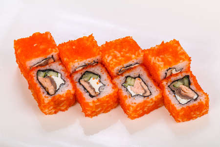 Japanese cuisine roll with salmon and cheese