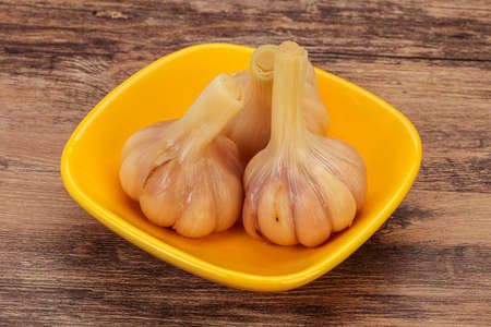 Marinated young garlic in the bowl
