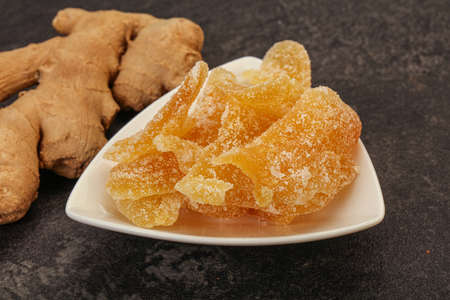 Dry sweet ginger snack in the bowl