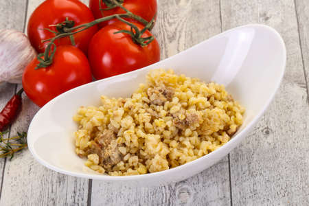 Bulgur with meat and spices 免版税图像