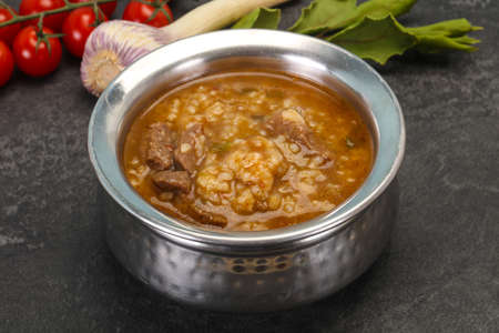 Caucasian Kharcho soup with beef meat and rice 免版税图像