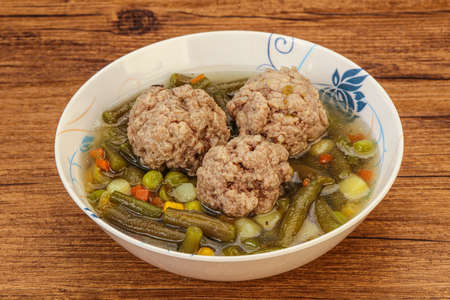 Soup with vegetables, spices and meat balls Banco de Imagens